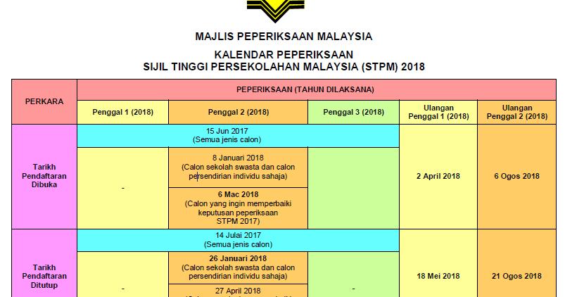Jadual Peperiksaan Stpm 2018 Penggal 1 2 Dan 3 Kalendar Peperiksaan Sijil Tinggi Persekolahan Malaysia Stpm Pendidikanmalaysia Com