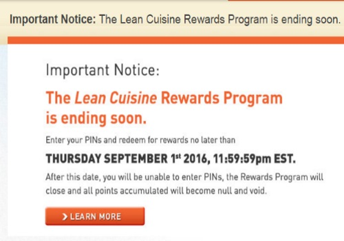 Lean Cuisine Rewards Program Ending Soon