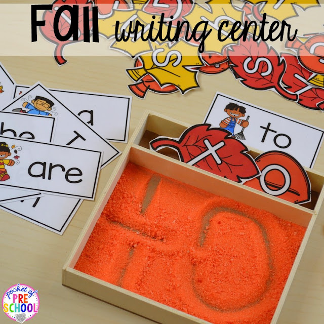 Fall sight word writing tray. Fall math, literacy, fine motor, art, sensory, and dramatic play activities for your preschool, pre-k, and kindergarten classroom.