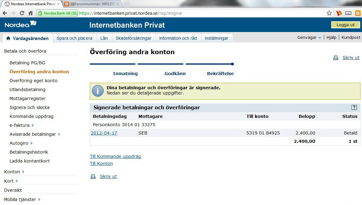 All Swedish Bank online Transfer Instructions: How to Transfer money from Nordea bank?