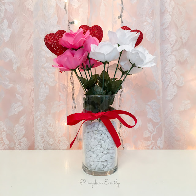 DIY Dollar Store Valentines Flower Arrangement