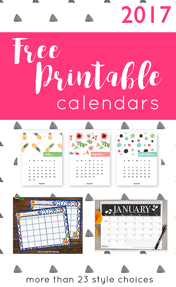 2017 Free Printable Calendars Crafting in the Rain