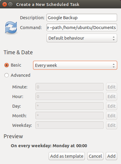 Gnome Schedule New Task dialog screenshot