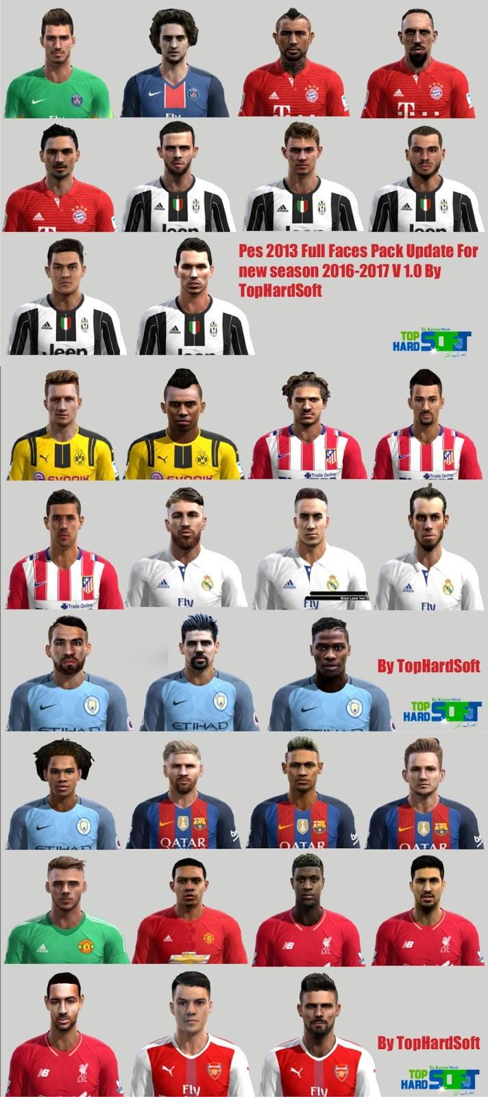 Pes 2013 Full Faces Pack Update For new season 2016/2017 V 1.0 By TopHardSoft