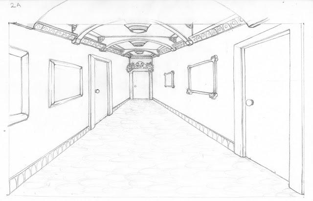 school hallway drawing - 640×412