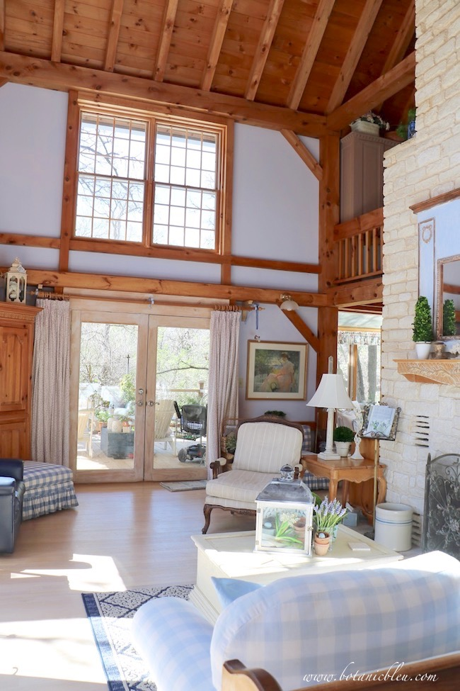french country living room spring sunlight