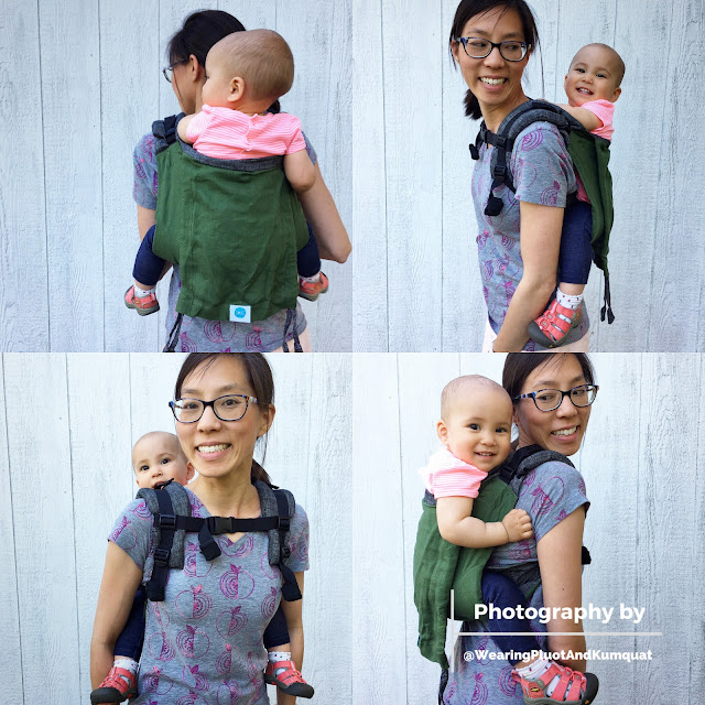 [Image of four square photos of me, a light tan skin bespectacled Asian woman with dark brown hair, wearing a toddler on my back in a green onbuhimo baby carrier with gray shoulder straps. The four photos show the front, sides, and back of us using this perfect-cooler-wearing-for-summer carrier. We are happily standing outside in the evening summer shade in front of an old white worn shed.]