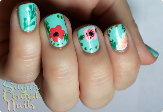 Sugar Coated Nails: Flowers Following The Beauty Department Tutorial