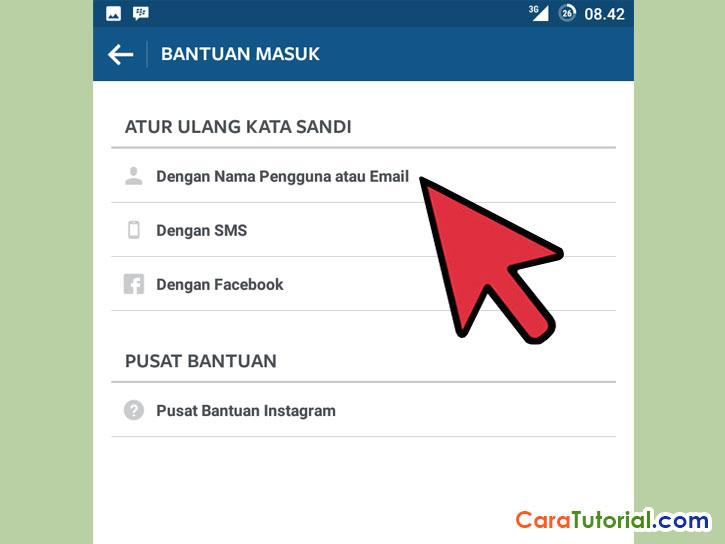 bantuan masuk dengan nama pengguna atau email instagram