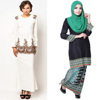 Model Baju Kurung Batik Kombinasi Bordir