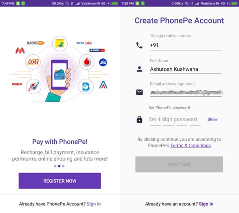 sign up to phonepe