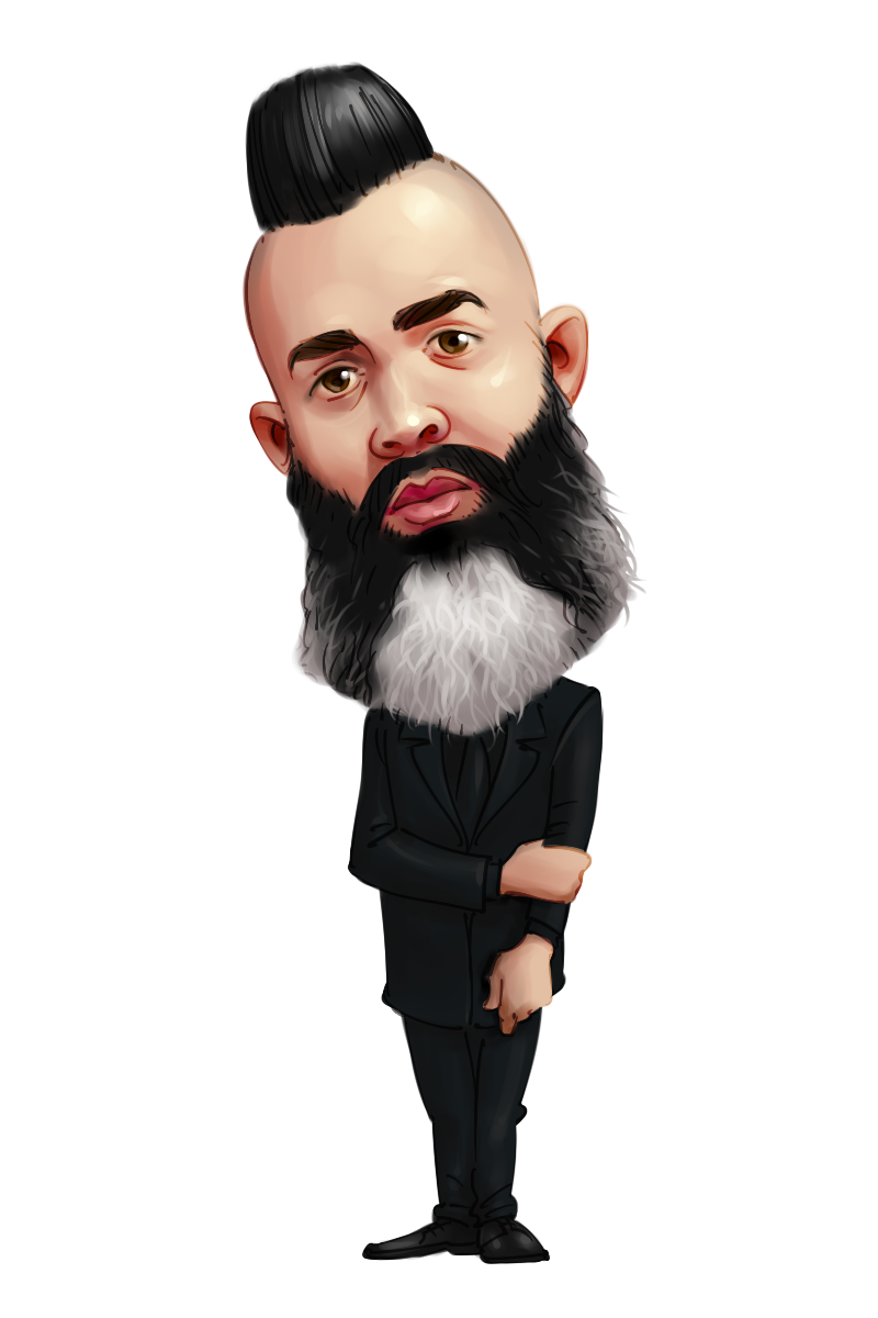 caricature from photo man in suit with stylized hair and beard