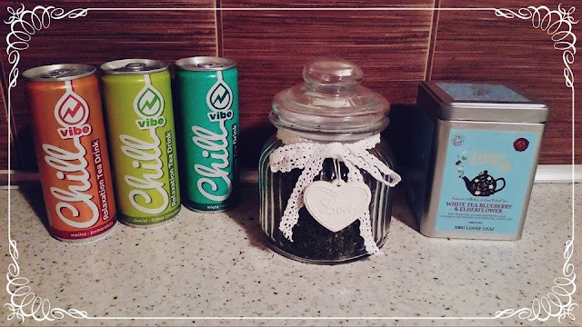 """napoje z zieloną herbatą Vibe """"Chill"""" +  Pokrzywa z """"Herbamix"""""""