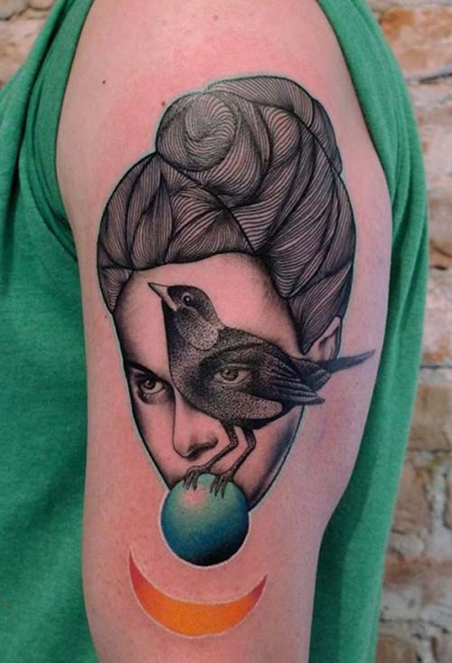 woman and bird tattoo kadın ve kuş dövmesi