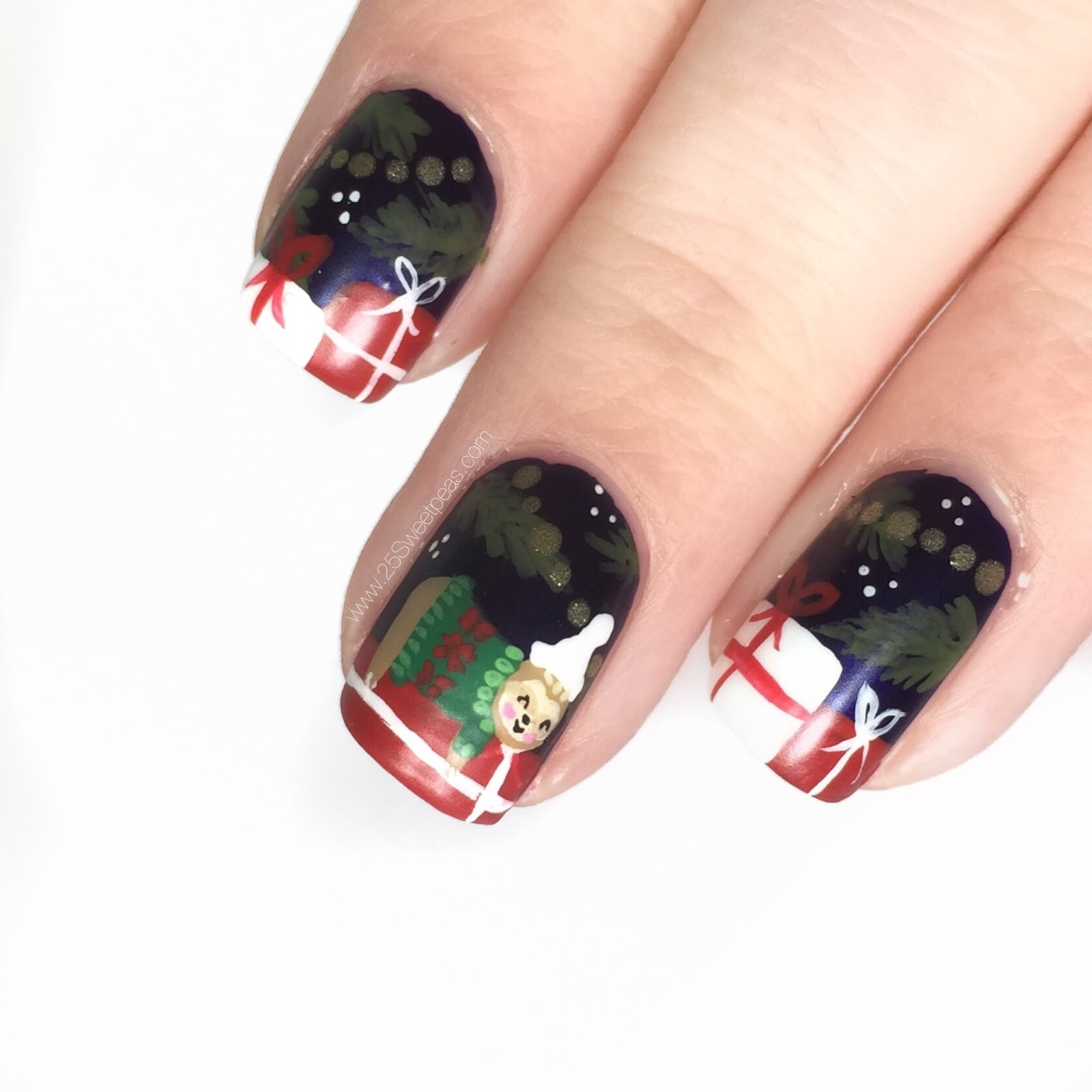 Christmas Sloth Nail Art