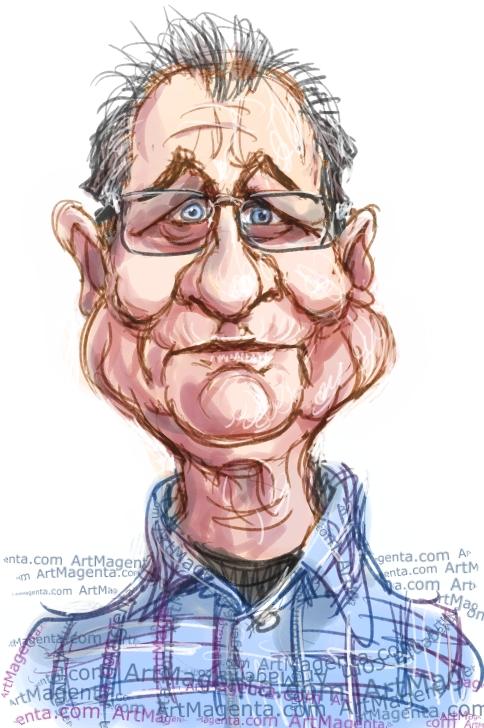 Ed O'Neill caricature cartoon. Portrait drawing by caricaturist Artmagenta