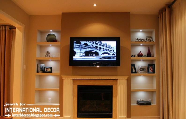 built in shelves and corner shelves of plasterboard, TV wall shelves