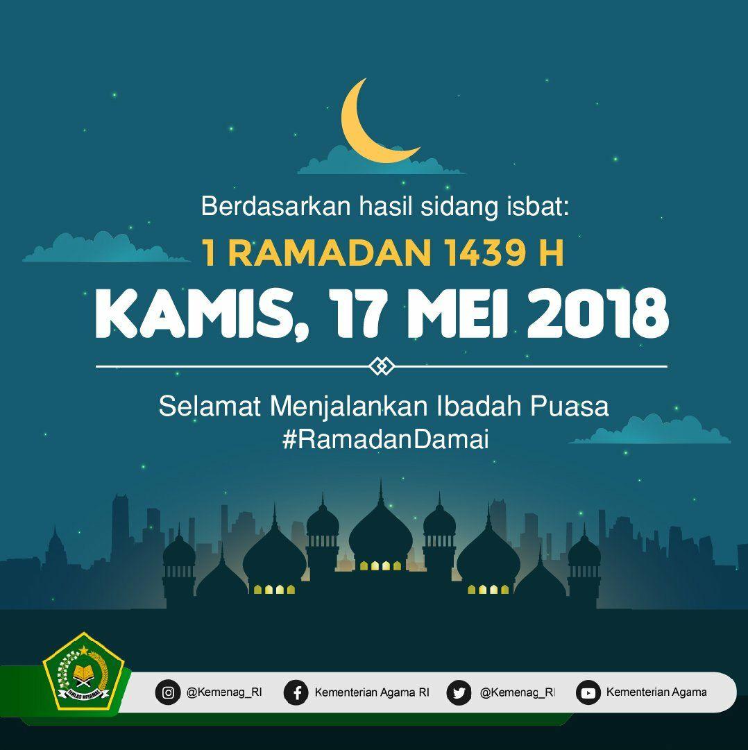 Alhamdulillah, hasil sidang isbat KEMENAG RI 1 Ramadhan ...