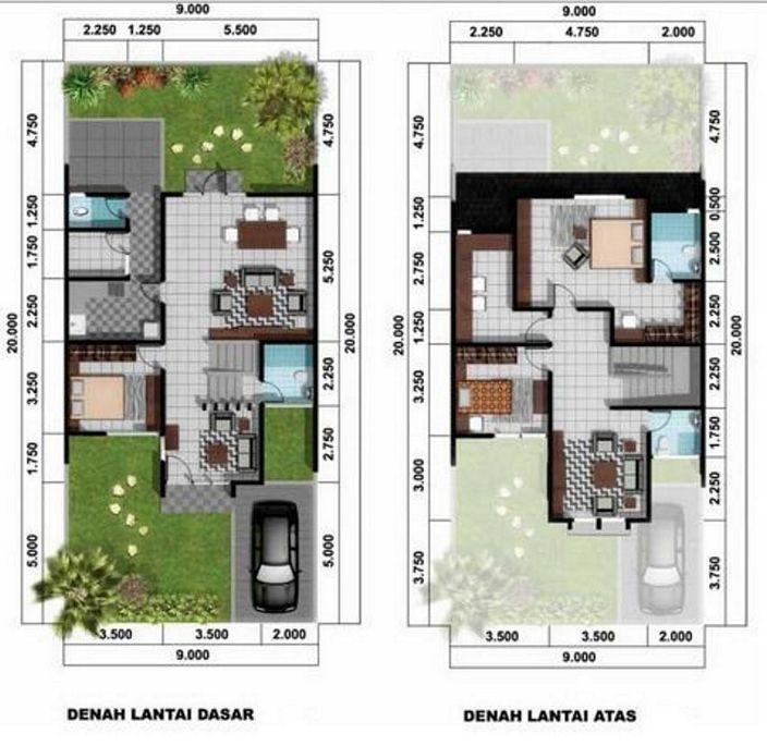 denah rumah ukuran 6x8m 3 kamar yang bagus