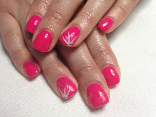 Red Flicks Acrylic Nail Design