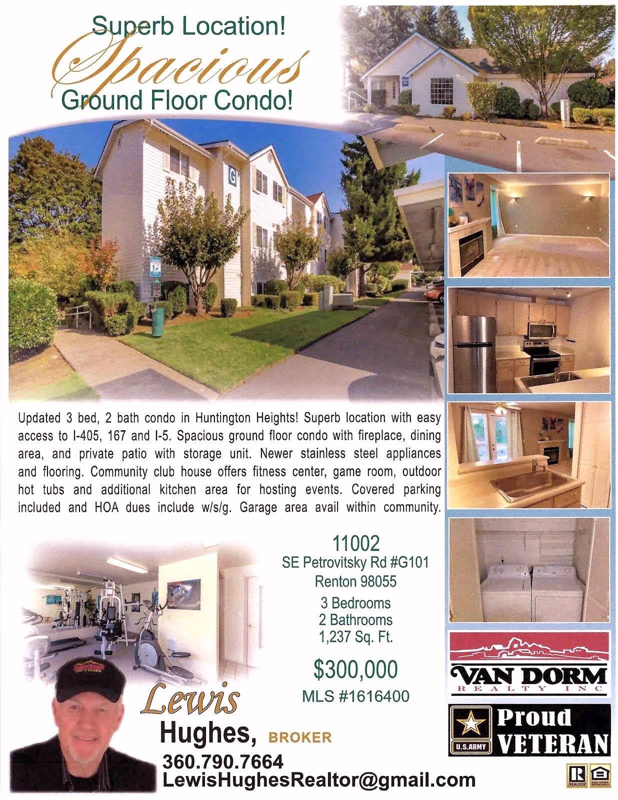 Here's My Newest Listing!! Spacious Huntington Heights Ground Floor Condo in Renton, WA