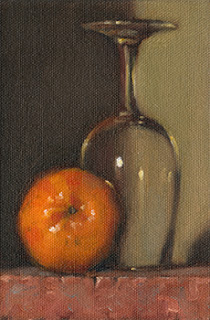 Still life oil painting of an upturned ISO tasting glass beside a mandarine.