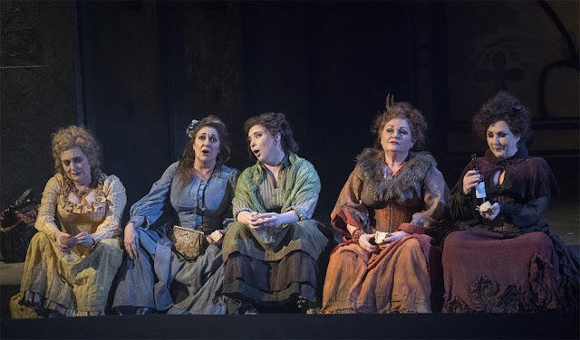 Iain Bell: Jack the Ripper - The Women of Whitehall - Janis Kelly, Lesley Garrett, Natalya Romaniw, Susan Bullock, Marie McLaughlin - English National Opera (Photo Alastair Muir)