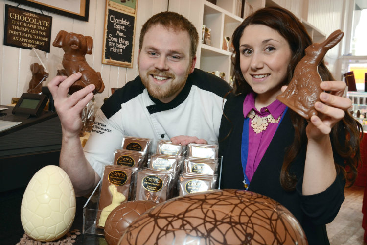 Chocolatier Alex Grant of Crofts Chocolates (left) looks forward to the forthcoming chocolate lollipop-making session at the Bistro At The SJT with Yorkshire Coast Homes' chocolate-loving Social Media and Communications Officer Cherie Welburn (right)