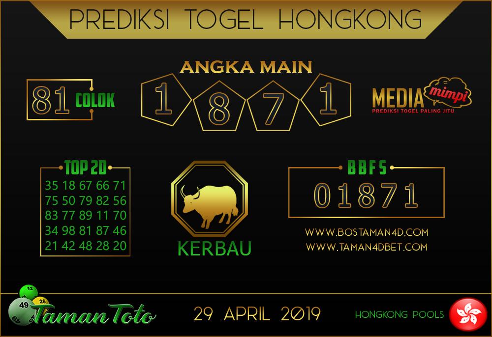 Prediksi Togel HONGKONG TAMAN TOTO 29 APRIL 2019