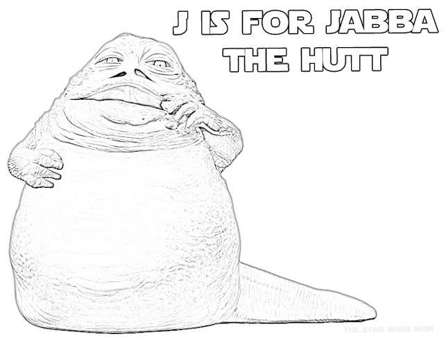 Jabba the Hutt Star Wars Alphabet Coloring Sheet
