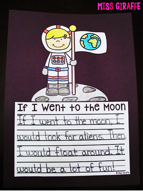Creative writing about space perfect for your space unit - kids get to have fun imagining with the fun writing prompt If I Went to the Moon! Perfect for first grade or kindergarten space units!