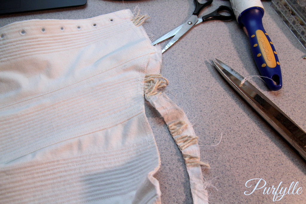 trim the edges just before stitching