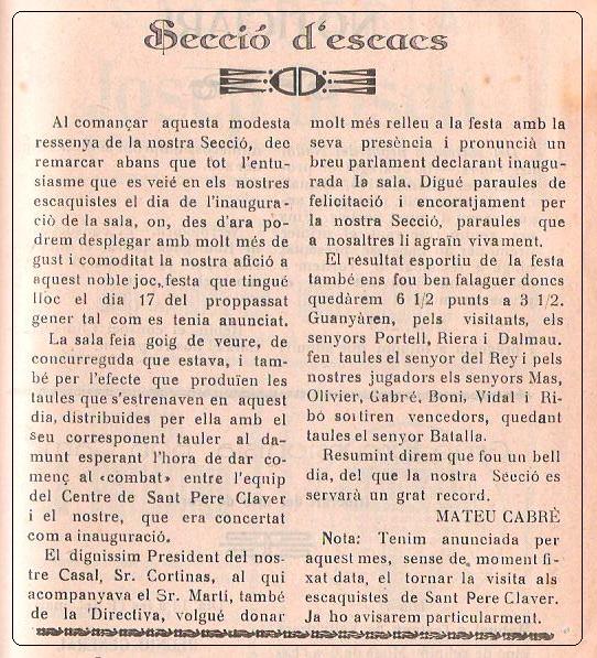 Boletín 115 del Casal Catòlic de Sant Andreu, febrero de 1932