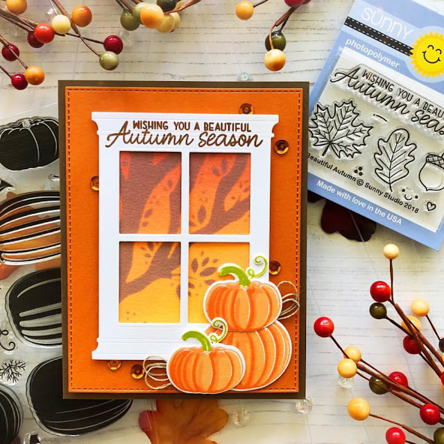 Sunny Studio Stamps: Pretty Pumpkins Autumn Greetings Customer Card by Danielle Flynn