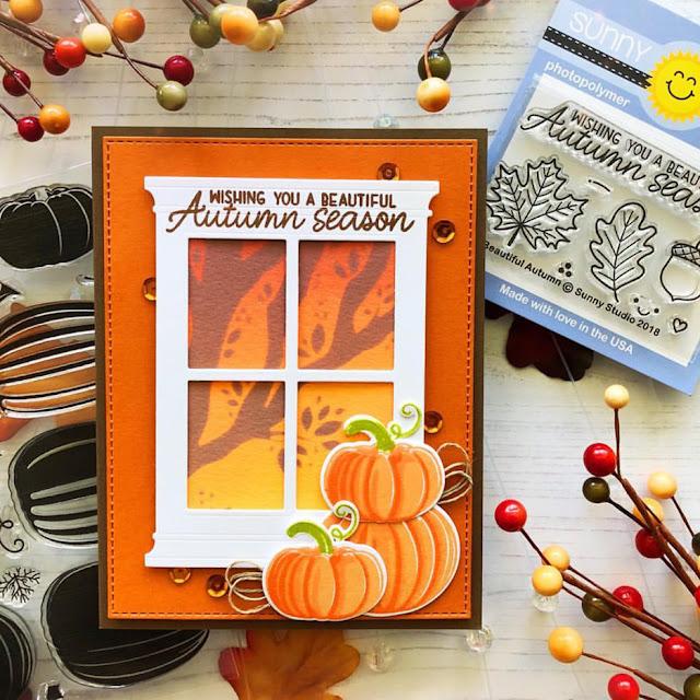 Sunny Studio Stamps: Pretty Pumpkins Autumn Greetings Customer Card by Danielle Flynn