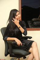 Mounika in a velvet short black dress for Tick Tack Movie Press Meet March 2017 003.JPG