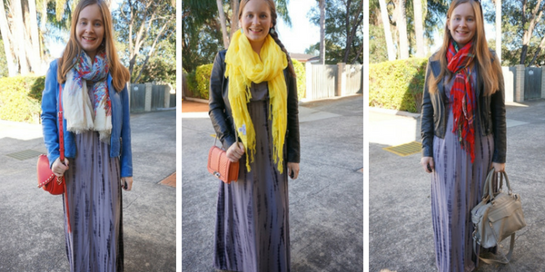 3 ways to wear tie dye maxi dress layered in winter leather jackets scarves | awayfromblue