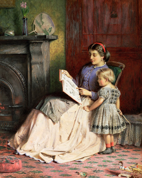 Victorian Painting Mother Daughter