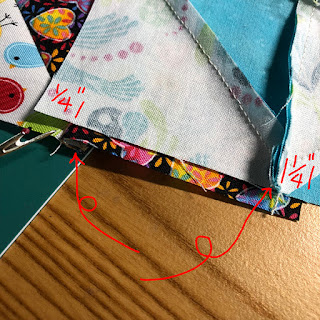 biscornu made from quilting fabric -  sew sides