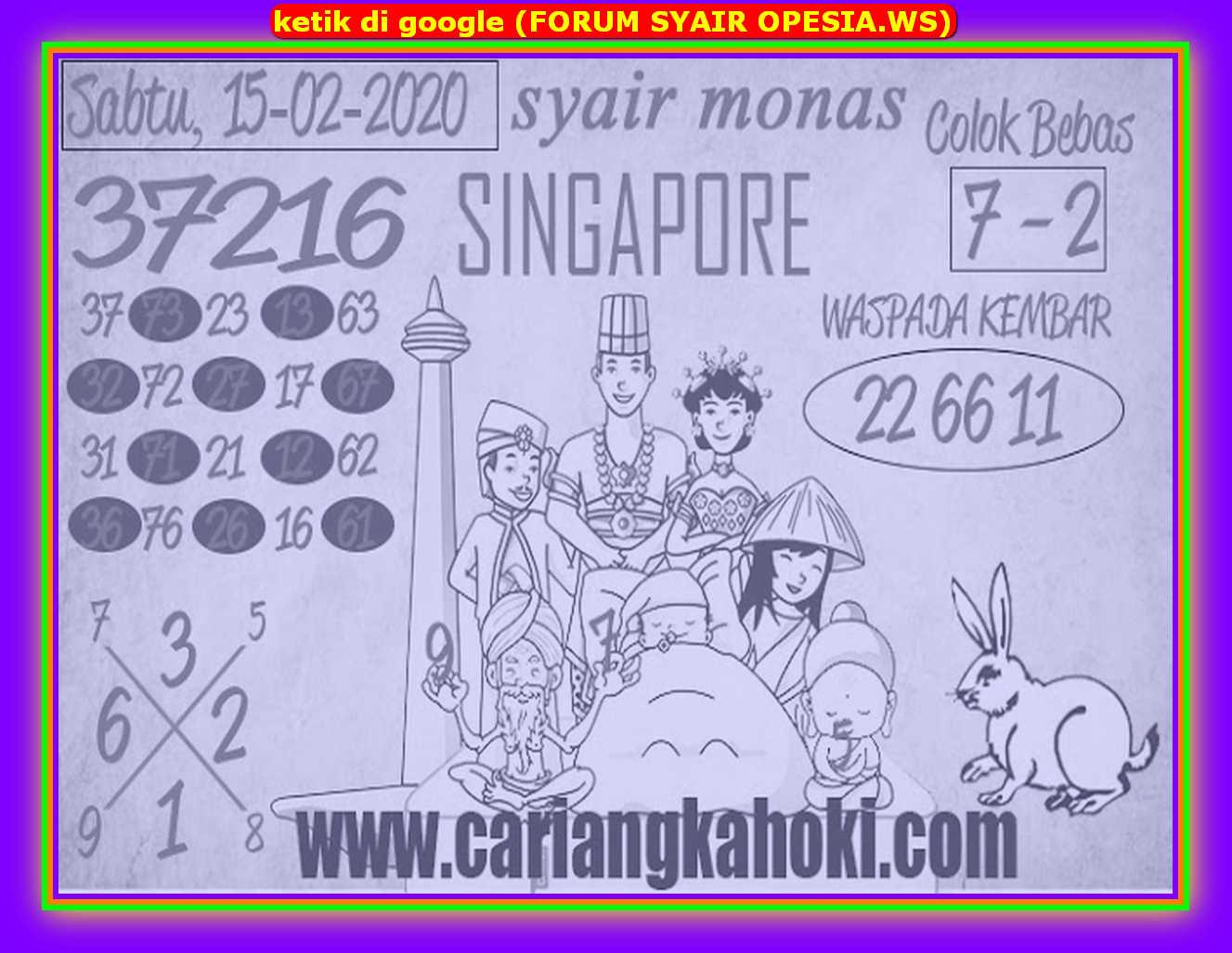 Kode syair Singapore Sabtu 15 Februari 2020 114