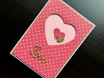 Hand made Valentine card with die cut hearts, metallic heat embossing and dry embossing of kraft core card