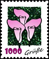 """Briefmarken-Clipart """"1000 Grüße"""""""