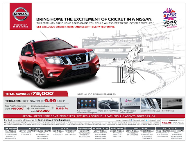 Bring home the excitement of cricket in a Nissan + Amazing discount offer with Nissan | February 2016