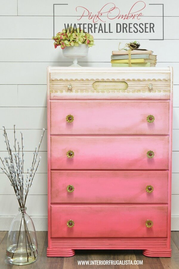 Pink Ombre 5-Drawer Waterfall Dresser Makeover
