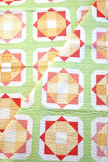 Sunny Day quilt pattern from the Fresh Fat Quarter Quilts book by Andy Knowlton of A Bright Corner - pretty spring throw size quilt uses 12 fat quarters