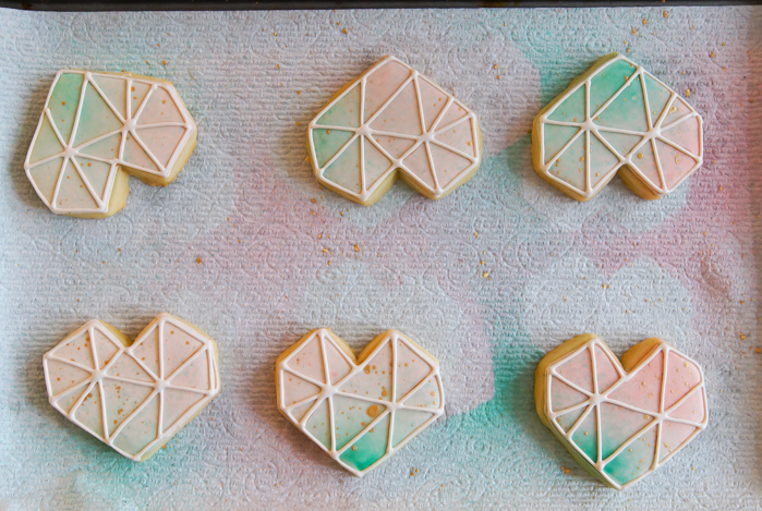how to make Watercolor Geometric Heart and Gem Cookies | bakeat350.net