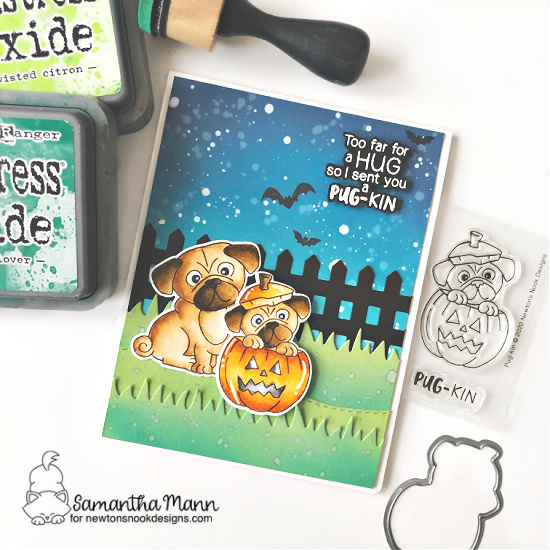 Pug Halloween Card by Samantha Mann | Pug-kin Stamp Set, Pug Hugs Stamp Set, Fence Die Set and Land Borders Die Set by Newton's Nook Designs #newtonsnook #handmade