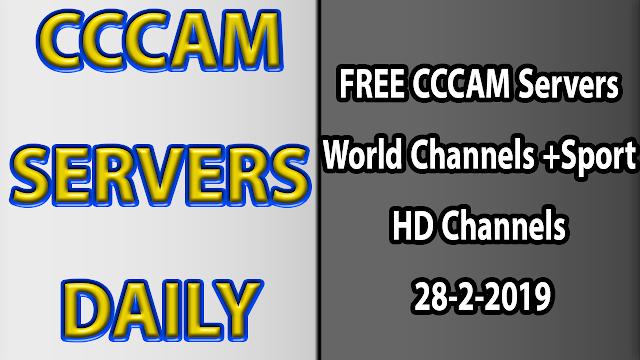FREE CCCAM Servers World Channels +Sport HD Channels 28-2-2019
