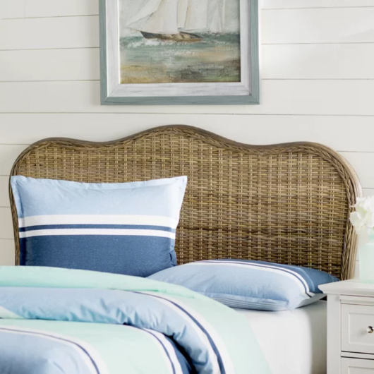 Rattan Headboard Coastal Bedroom Furniture Decor Idea