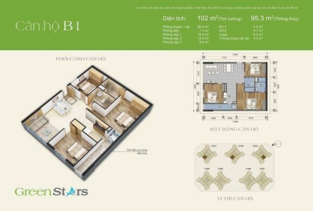 Thiết kế căn hộ 3 phòng ngủ 102m2 – loại B1
